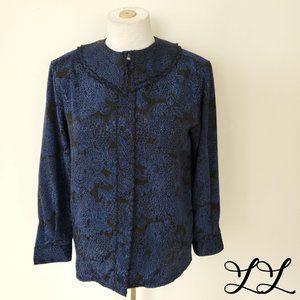 Vintage Blouse Fair Set Blue Black Floral Layers
